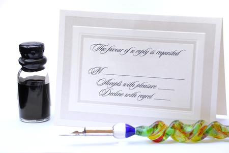 RSVP letter with a calligraphy pen and ink.