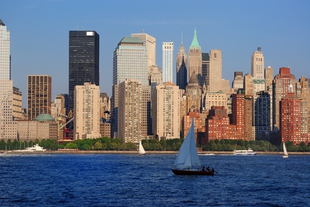 The Lower Manhattan Skyline with serious reflections in New York City. Stock Photo - 8407259