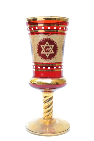 A seder cup with a star of david, used in festive Jewish Holidays. Stock Photo