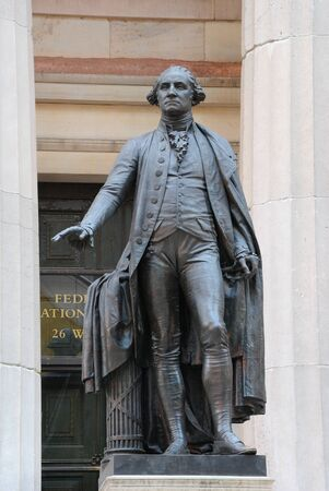 george washington: George Washington Statue at Federal Hall in New York City.