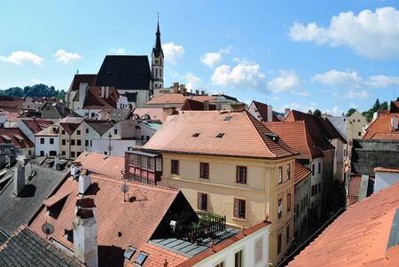 skyline of Cesky Krumlov in Czech Republic.