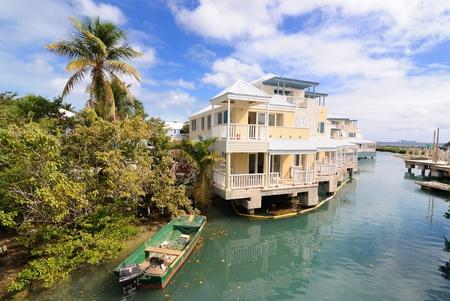 the virgin islands: Condos on a river in Tortola, British Virgin Islands. Stock Photo