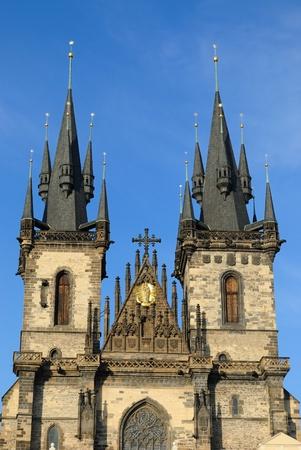 tyn: Tyn Cathedral in Prague, Czech Republic. Stock Photo