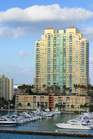 intercontinental: Skyline of the city of Miami, Florida along South Beach. Stock Photo