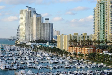 boat dock: Skyline of the city of Miami, Florida with yachts and boats.