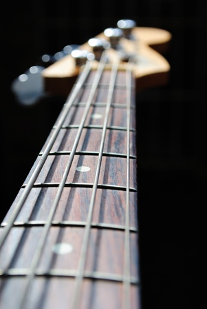 fret: abstract view of a bass guitar neck with a shallow depth of field, focus on the middle inlayed fret.