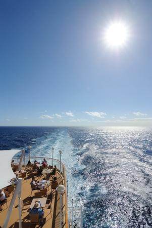 Norwegian Pearl, Caribbean Sea, December 30, 2010 - Passengers on the back deck of theNorwegian Pearl Cruise Ship in the Caribbean Sea.
