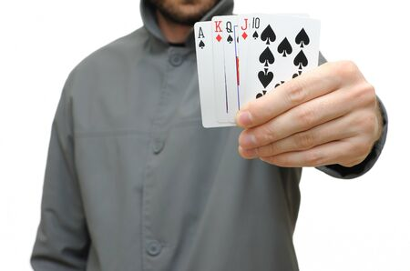 Full house in a hand isolated on a white background. photo