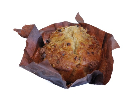 banana bread: A muffin made of banana bread sprinkled with walnuts.