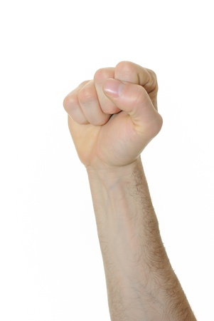 body pump: Powerful fist pump against a white background Stock Photo