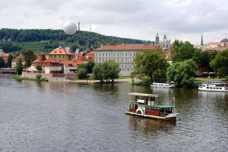 A riverboat on the Vltava River in Prague, Czech Republic.