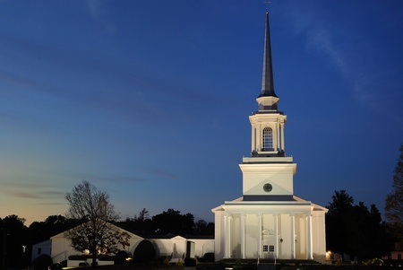 baptist: A Southern Baptist Church illuminated at twilght.