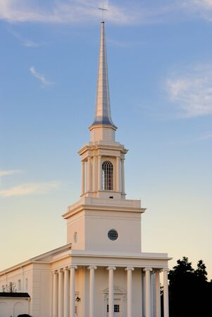 baptist: Steeple of a southern Baptist Church in rural surroundings.