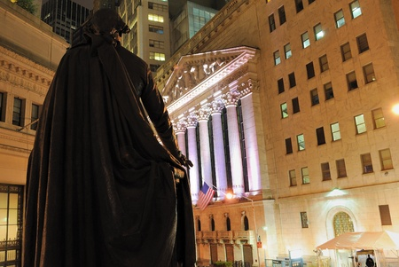 federal hall: Looking from Federal Hall to view the corner of Broad Street and Wall Street. May 22, 2010.