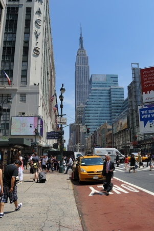 NEW YORK CITY - MAY 25: Fashion Avenue and 34th Street with the Empire State Building and Macys in View, May 25, 2010 in New York, NY.