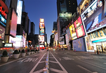NEW YORK CITY - SEPTEMBER 5: A rare view of an empty Times Square, usually one of the busiest commercial districts in the world September 5, 2010 in New York, NY. Stock Photo - 8797074