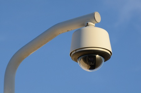 closed circuit television: A security camera in the sky Stock Photo