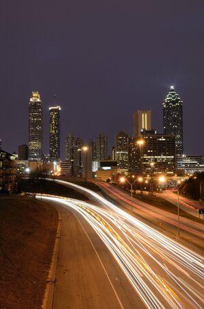 parkway: Atlanta Skyline above Freedom Parkway Stock Photo