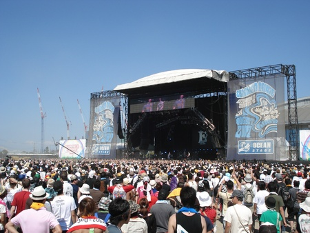 summer festival: Crowds at the annual Summer Sonic in Osaka, Japan. August 11, 2008.