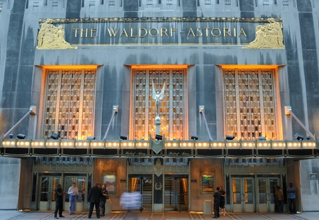 hotel: New York City - September 5, 2010: The luxurious Waldorf-Astoria hotel in New York City. Editorial