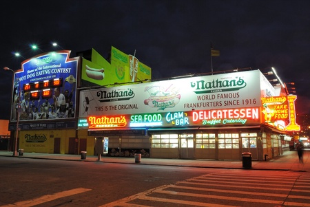Nathan's hotdogs since 1916 in coney island, New york City. October 25, 2010. Stock Photo - 9020185