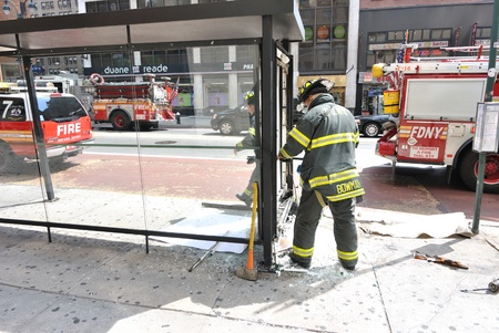 responding: Fire Department of New York City responding to a fire at a bus stop. Jun 23, 2010.