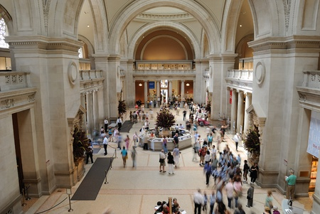 famous place: Tourists mill about in the Metropolitan Museum of Arts Great Hall in New York City. May 26, 2010.