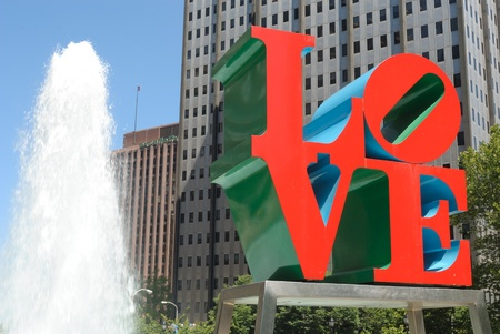 brotherly love: Love Park in Philadelphia boasts a giant Love Statue. May 30, 2010 in Philadelphia, PA.