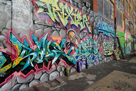 Queens, New York - October 7, 2010: Five Pointz, considered a graffiti mecca in Queens New York City, is an outdoor exhibit space featuring numerous graffiti artists.