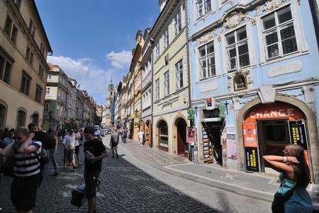 Prague, Czech Republic - August 1, 2010: A busy street in Prague, Czech Republic.