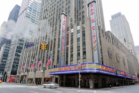 'city hall': New York City - May 27, 2010: Radio City Music hall at the intersection of W 50th Street and 6th Avenue in New York City.  May 27, 2010.