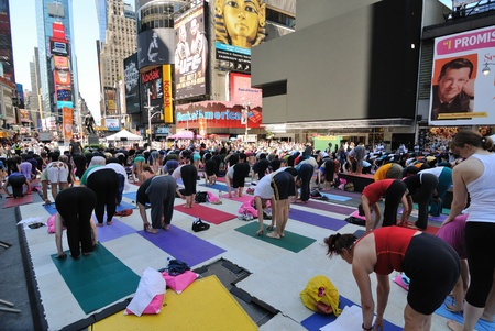 New York City, USA - June 21, 2010 - Participants in Yoga in Times Square