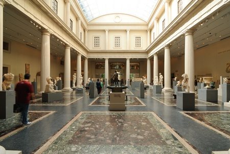 museum: New York City - June 29: The ancient Greek and Roman galleries at the Metropolitan Museum of Art in New York City.
