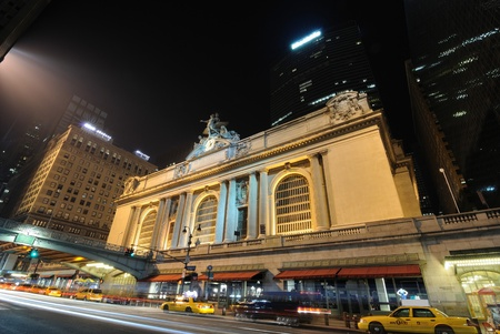 42nd: New York City - July 18, 2010: Grand Central Terminal at night with Metlife building behind it alond 42nd street in New York City. Editorial