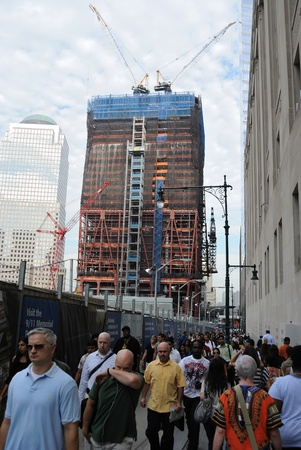 The ongoing construction on the Freedom Tower at the World Trade Center in New York City. September 3, 2010.