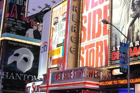 Theater and production advertisements in Times Square New York City at dawn. Septembr 5, 2010. Stock Photo - 9020209