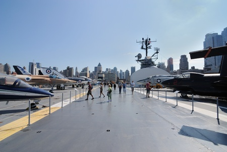 intrepid: The Intrepid Aircraft Carrier of the coast of Manhattan New York City in the Hudson River. September 23, 2010.