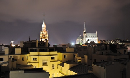 Nightscape of the city of Brno, Czech Republic. 版權商用圖片