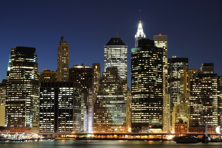 Lower Manhattan at night from the Brooklyn Heights Promenade. photo