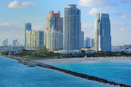 Skyline of luxury high rise apartments on South Beach in Miami, Florida.