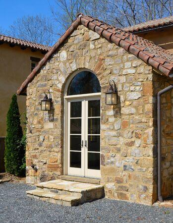 edifice: A Tuscan-style villa with stone edifice.