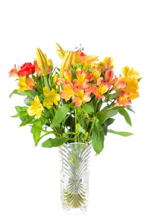 glass vase: Beautiful vase with flower arrangement Stock Photo