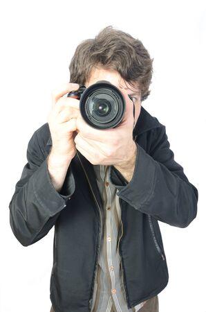 een fotograaf en zijn camera Stockfoto