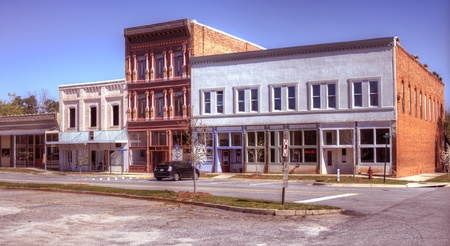 A small downtown area in Northeast, Georgia with old film effect. photo
