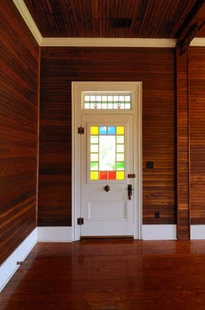 front door with colored glass Banque d'images
