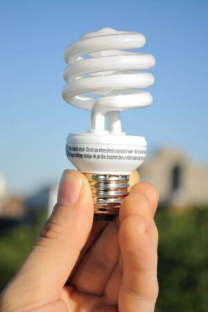 florescent light: An energy efficient florescent light bulb.