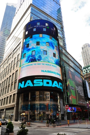 The electronic NASDAQ billboard in Times Square. New York City, pril 18, 2010. Banco de Imagens - 9433742