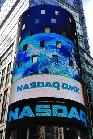 nasdaq: The electronic NASDAQ billboard in Times Square. New York City, April 18, 2010.