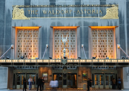 hotel stay: NEW YORK CITY - SEPTEMBER 5, 2010: The landmark luxury hotel Waldorf-Astoria in midtown Manhattan.