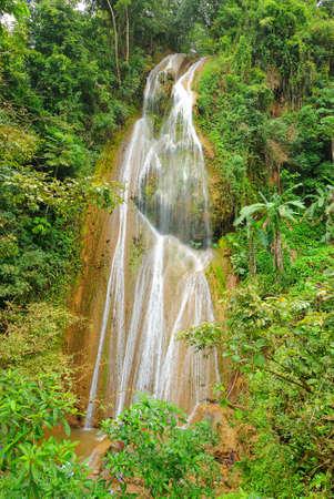Tropical Waterfall in Samana, Dominican Republic. Imagens